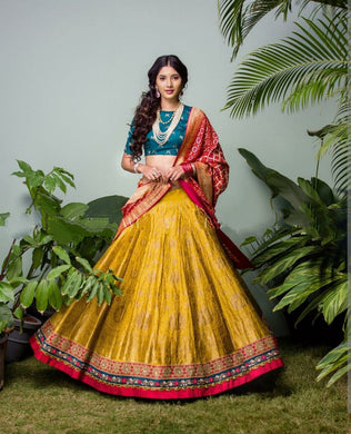 Wedding Yellow Color Banglory Satin Silk Printed Lehenga Choli