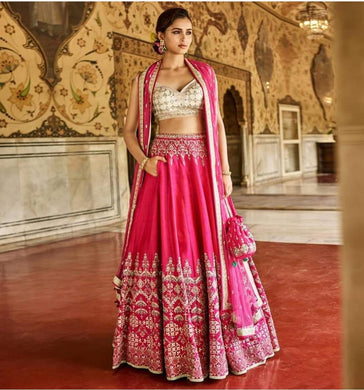 Exclusive Designer Pink Color Taffeta Silk Embroidered Lehenga Choli