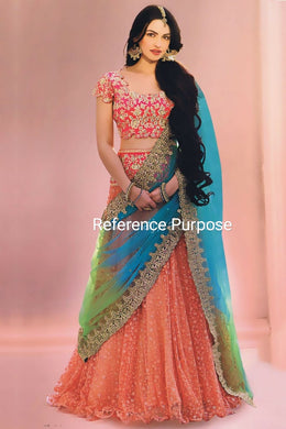 Wedding Orange Color New Desinger Tissue Net Embroidered Lehenga Choli