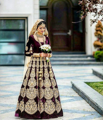 Wedding Purple Color Heavy Velvet Embroidered Lehenga Choli