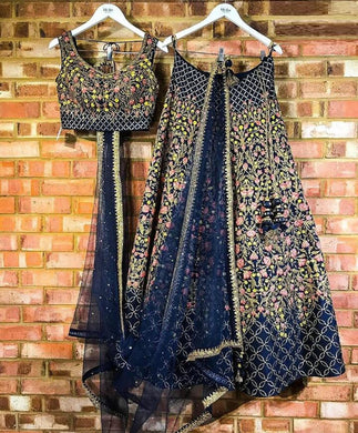 Beutique Blue Velvet Full Heavy Embroidery Lehenga Choli With Dupatta