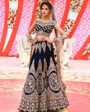 Bridal Blue Velvet Heavy Embroidery Work Lehenga Choli With Dupatta