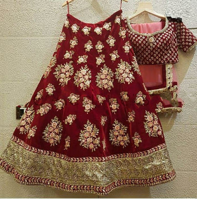 Impressive Red Color Wedding Heavy Velvet Embroidered Lehenga Choli