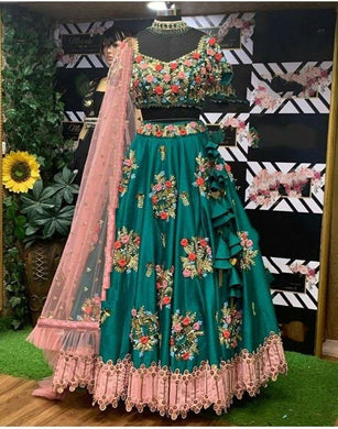 Beutique Disigner Wear Collection Heavy Green Embroidery Lehenga Choli With Ruffle Dupatta