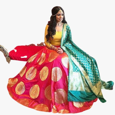 Pink Color Digital Printed Banglory Satin Silk Lehenga Choli
