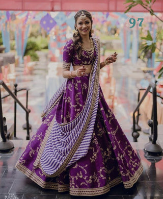 Purple Bollywood Designer New Wedding Banglory Satin Silk Lehenga Choli