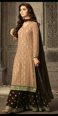 Salmon Color Faux Georgette Heavy Bridal Embroidered Plazzo Suit