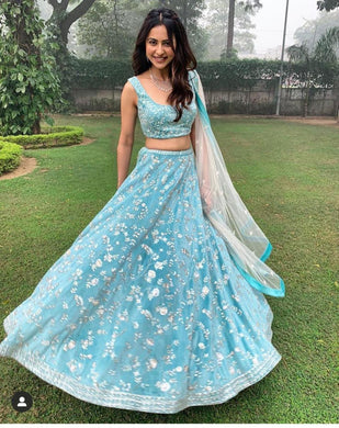 Awesome Look Skyblue Color Georgette Embroidered Lehenga Choli