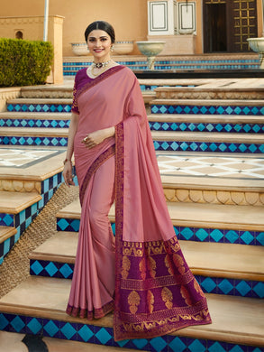 Beautiful Attractive Bollywood Party Wear Vichitra Silk Embroidered Saree