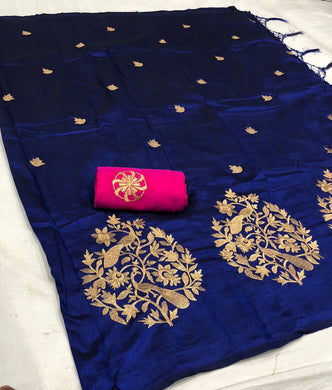 Beautifull New Traditional Desinger Emnroidered Saree With Blouse