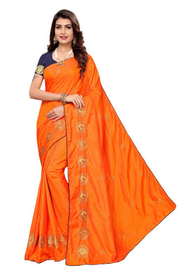 Awesome Orange Color Beautiful Paper Silk Embroidered Designer Saree