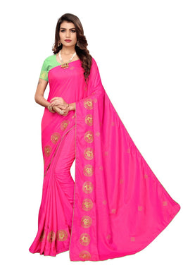 Attractive Pink Color Beautiful Paper Silk Embroidered Designer Saree