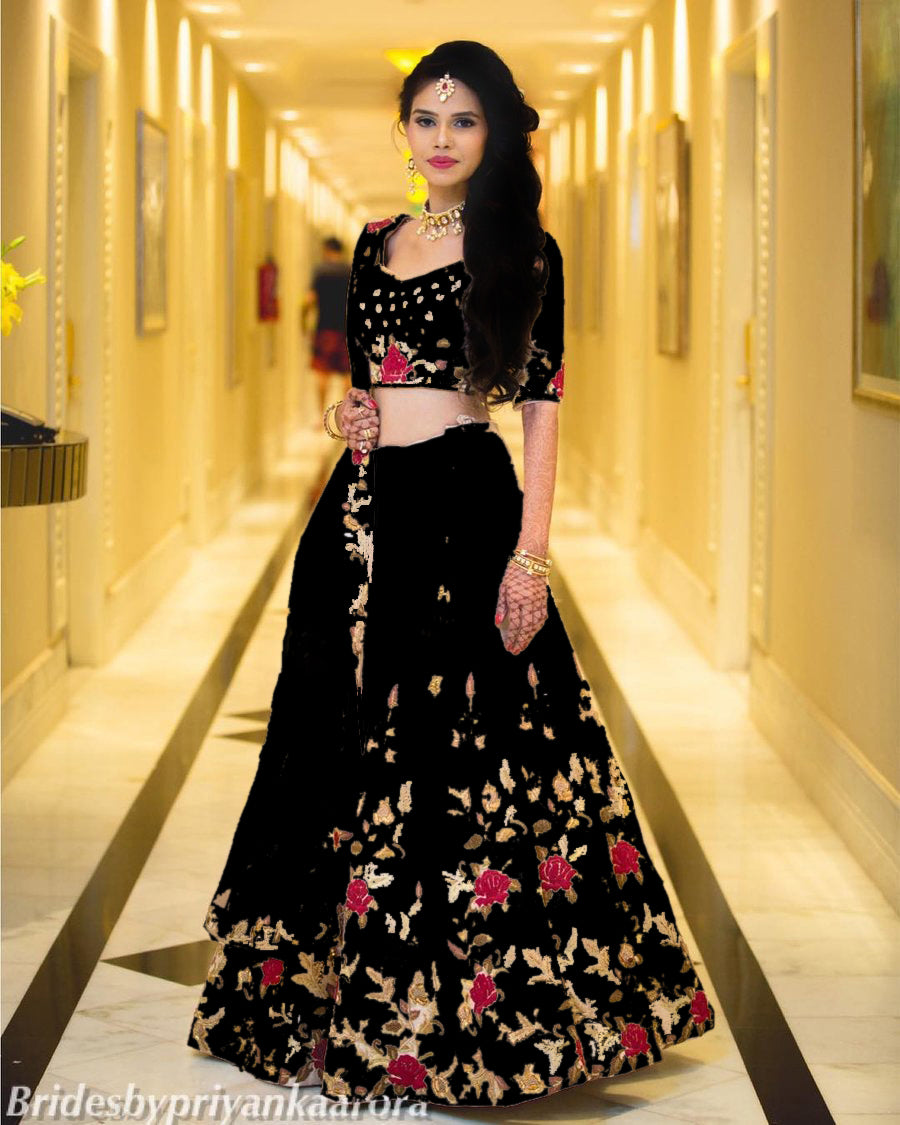 80dc6286d1 Black Color Beautiful Satin Banglory Silk Embroidered Lehenga Choli With  Dupatta ...