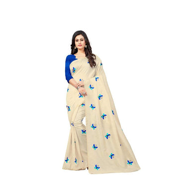 Attractive Cream Exclusive New Butterfly Design Zarna Silk Embroidered Saree