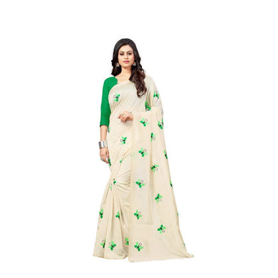 Beautiful Cream Exclusive New Butterfly Design Zarna Silk Embroidered Saree
