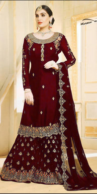 Traditional Maroon Color Wedding Georgette Embroidered Plazzo Suit