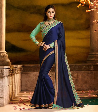 Beautiful Attractive Best Quality Blue Barfi Sillk And Embroidery Saree