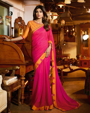 Attractive Pink Traditional Bollywood Rangoli Silk Embroidered Saree With Blouse