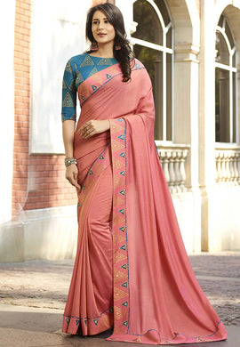 Beautiful Peach Color Party Wear Bollywood Rangoli Silk Embroidered Saree With Blouse