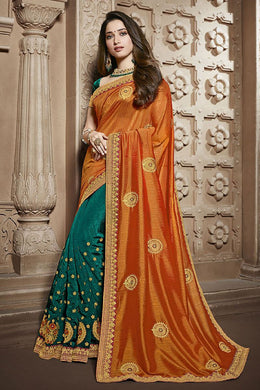 Attractive Orange Bollywood Bridal Wedding Rangoli Silk Embroidered Saree With Blouse