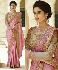 Beautiful Attractive Pink New Desinger Cinon Silk Embroidered Saree