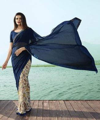 Beautiful Bollywood Attractive Printed Georgette Saree With Contaras Pallu Saree
