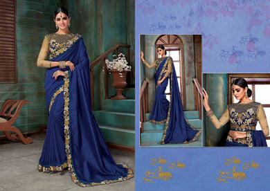 Blue Attractive Embroidered Designer Saree