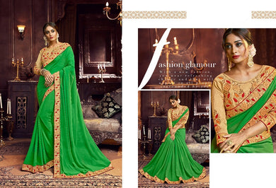 Green Women's Embroidered Designer Saree With Blouse Piece