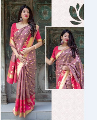 Attractive Disgner Women's Banarasi Silk Saree With Blouse Piece
