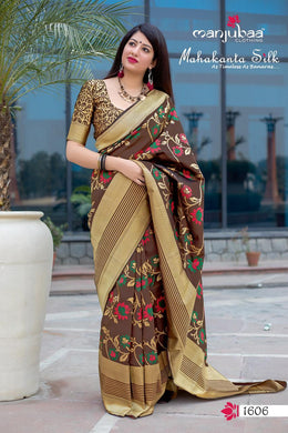 Brown Attractive Disgner Women's Banarasi Silk Saree With Blouse Piece