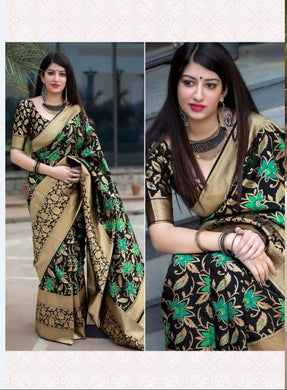 Black Attractive Disgner Women's Banarasi Silk Saree With Blouse Piece