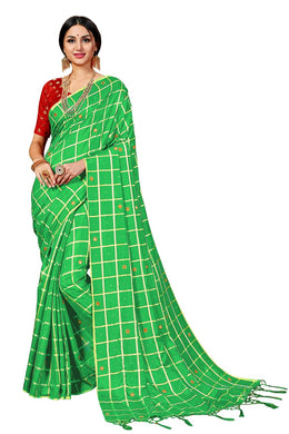 Green Attractive Disgner Women's Sana Silk Saree With Blouse Piece
