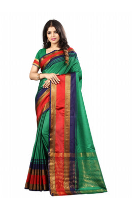 Green Poly Cotton Self Designer Saree With Unstitched Blouse Piece