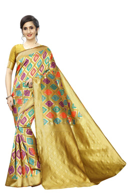 Goog Look Banarasi Weaving Silk Saree With Blouse-yellow