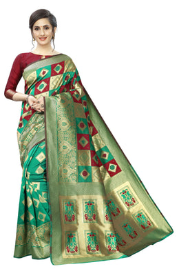 Green & Maroon Women's Jacquard Banarasi Weaving Silk Saree