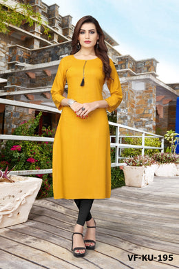 Latest Women's Yellow Rayon Printed Readymade Kurti
