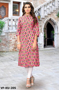 New Latest Good Looking Pink Slub Cotton Straight Kurti