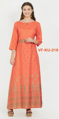 New Designer Anarkali Style Printed Orange Stitched Kurti