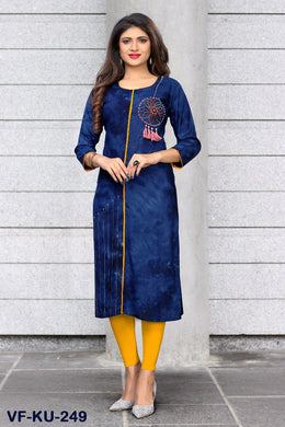 Latest Designer Straight Printed Blue Color Rayon Stitched Kurti-249