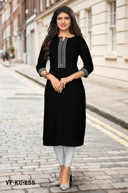 Elegant Straight Readymade Black Slub Cotton Kurti