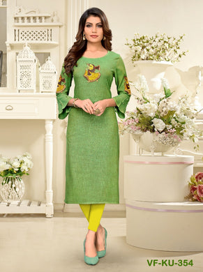 Green Color Latest Designer Women's Rayon Straight Kurti