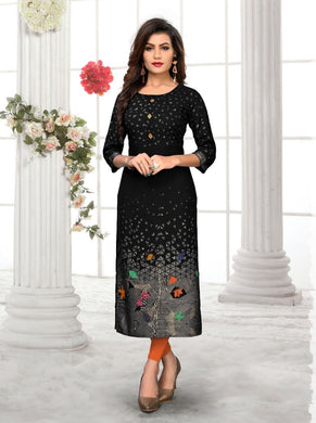 Black Color Rayon Straight Readymade Kurti