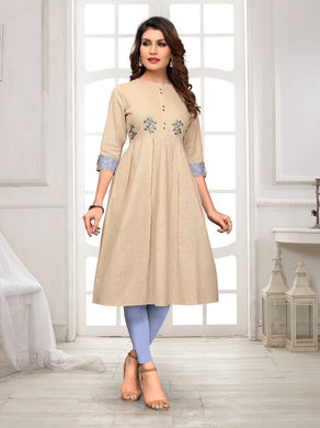 Beige Color Cotton Flex Straight Readymade Kurti