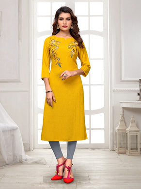 New Latest Printed Yellow Color Rayon Readymade Kurti