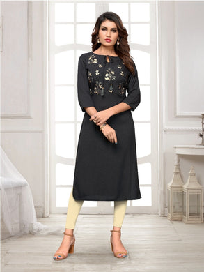 New Latest Printed Blackcolor Rayon Readymade Kurti