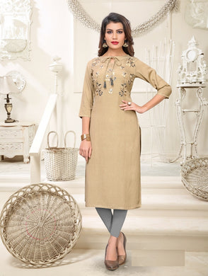 New Latest Printed Beige Color Rayon Readymade Kurti