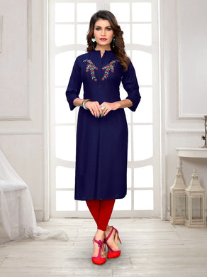 New Latest Printed Blue Color Rayon Readymade Kurti