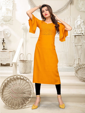 New Latest Printed Mustard Color Rayon Readymade Kurti