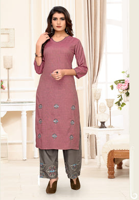 Fancy Collection Pink & Grey Rayon Stitched Straight Kurti