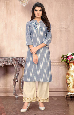 Fancy Collection Grey Rayon Stitched Straight Kurti